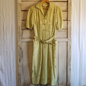 Vintage Dynasty Pure Silk Green Butterfly Dress 12